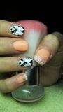 Orange and white nails