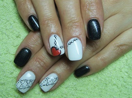 Black and white nails with a heart
