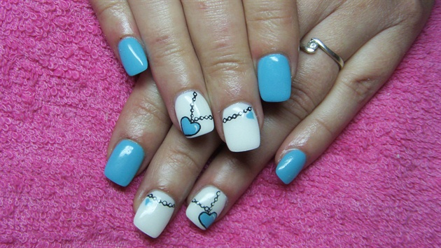 Turquoise and white nails with necklace