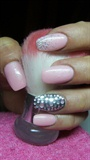 Pink and black nails with rhinestones