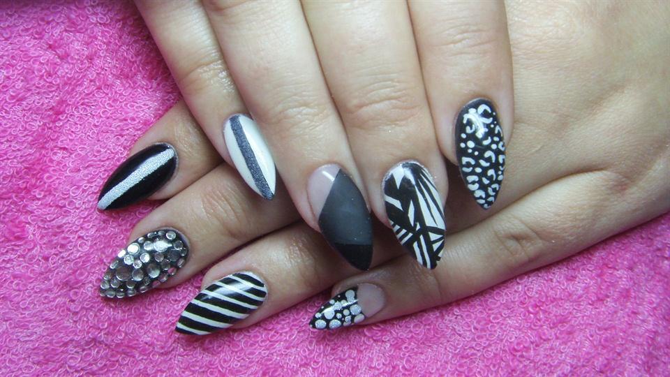 Black And White Stiletto Nails Nail Art Gallery