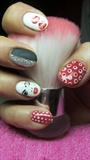 Red, black, silver and white nails