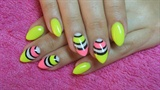 Neon yellow and pink nails