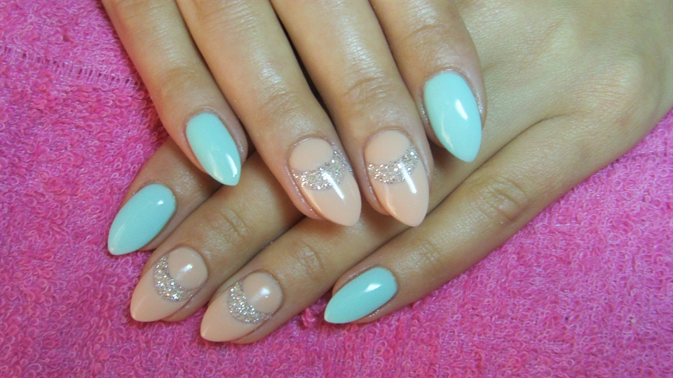 Nude And Turquoise Nails With Glitter Nail Art Gallery