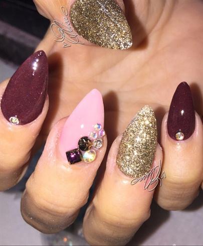 Pink And Maroon Nail Art Gallery