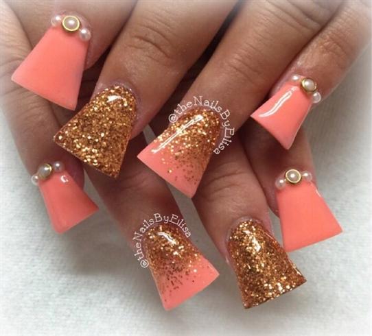 Coral Acrylic Nail Designs