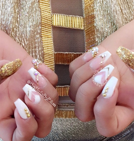 Gold And White Acrylic Nails
