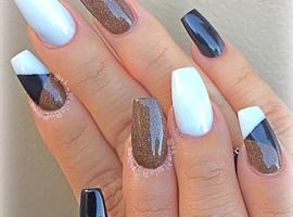 nail art: Brown Black And White Acrylic