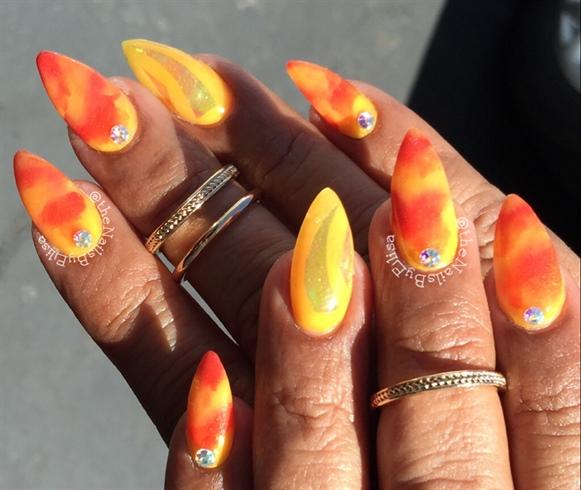 Burnt Orange And Yellow Acrylic Nails