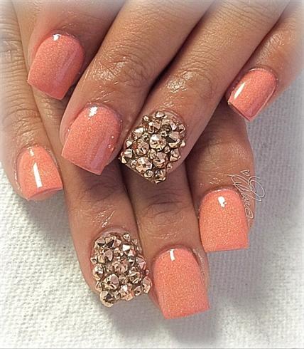 nude acrylic w/rose gold rhinestones  nail art gallery