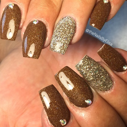 Brown And Gold Acrylic Nails
