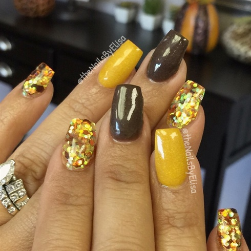 Dark Brown Mustard Acrylic Colors Nail Art Gallery