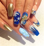 Blue & Gold Chrome Pigment #winternails