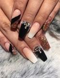 Black & Glitter Nails