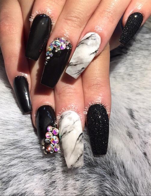 Glitter, Marble & Black Acrylic Nails - Nail Art Gallery