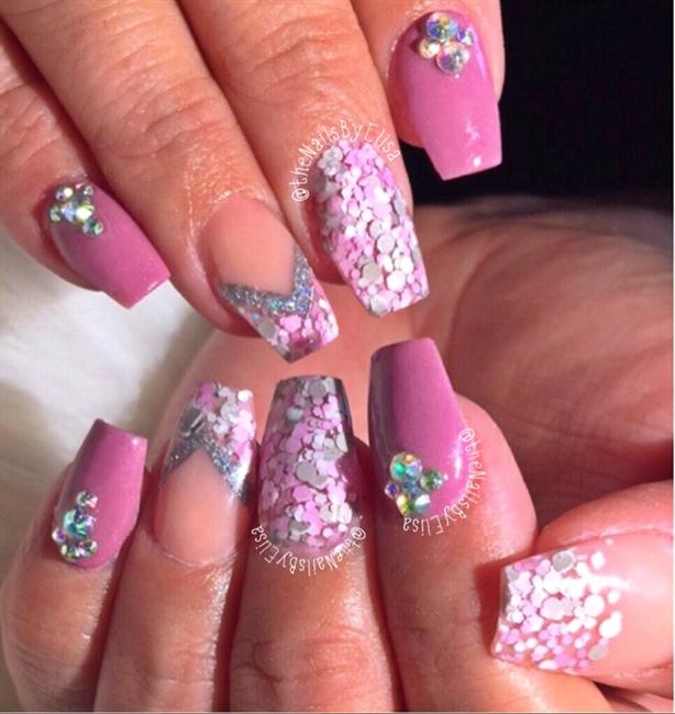 Mauve Pink And Grey Glitter Nails