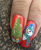 Christmas tree & snowman on nails