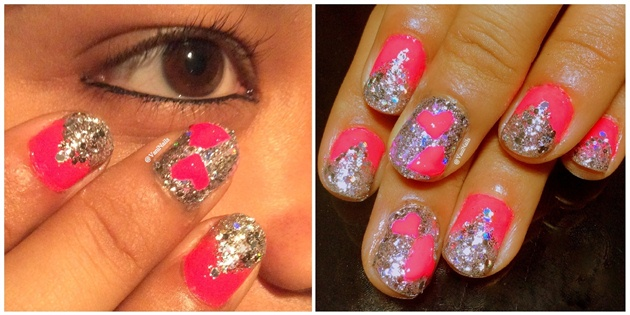 Pink hearts on nails