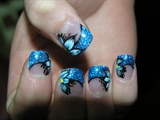 Blue Flower & Glitter Tip