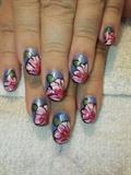 Pink Floral on blue