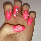 coral bling nails