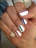 Simple Multicolored Diamond Nails