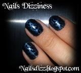 Dark blue leopard nails