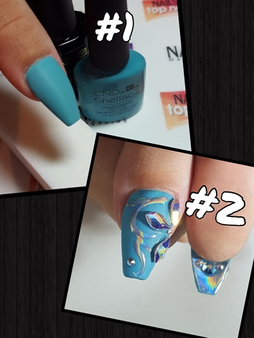 THUMBS! #1: 2 coats of gel polish, cured, gel top coat, cured, and lightly buffed to a matte finish. #2: Using same technique as middle finger with the hologram pigment, I drew on a swirl pattern, and added some Swarovski AB crystal details to match the dress! Flipped the nail over and decided it needed a full hologram touch with some Swarovski AB crystal details!