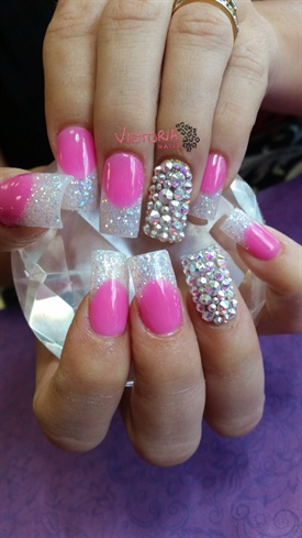 pink  white bling  nail art gallery