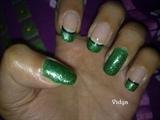 Green Glitter French Tips
