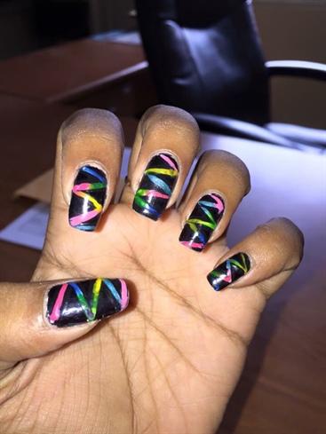 Neon Stripes Nail Art
