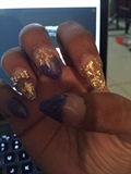 Gold And Purple Stiletto Acrylic Nails