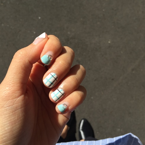 Blue And White Studded Nail Design
