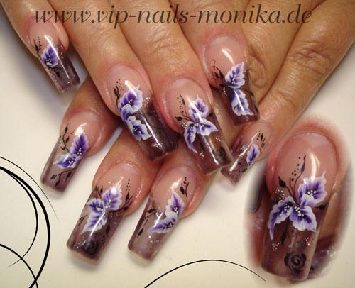 purple flowers-one stroke