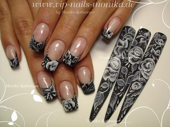 White Roses Nail Art