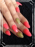 Neon Coral And Holographic Gold