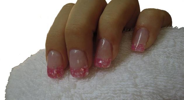 pink crushed shell encapsulation