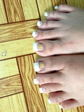French Pedicure with flower