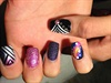galaxy nails with abstract art