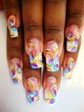 Pink and White with Abstract Nail Art