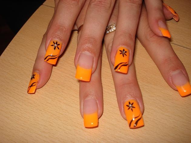 neon orange gel - Nail Art Gallery
