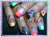 Ombre rainbow french