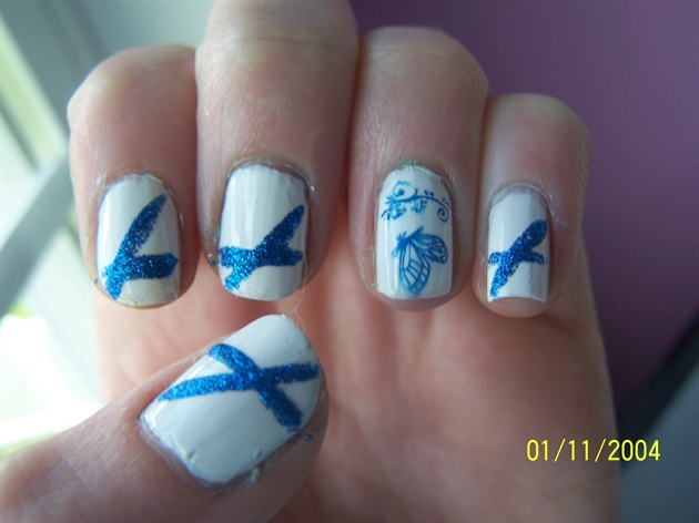 White and Blue Butterfly design