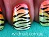 Fluro Ombre Zebra Print Nails