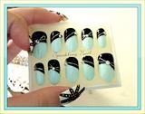 Ribbon Blue Nails