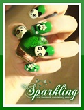 My Lovely Green Panda Nail