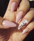 Stiletto Nails w/ Swarovski Chrystals.