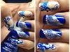 Konad blue floral fantasy nail art