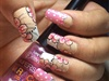 Cute bridal floral nail art