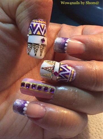 Aztec Patterned Tribal Nails